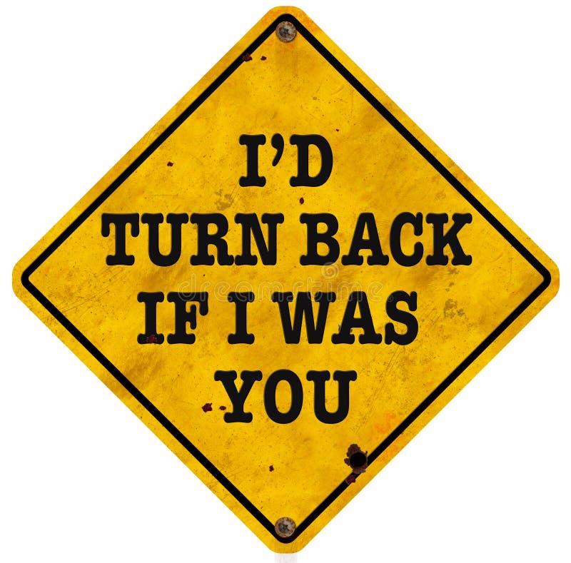 Vänd tillbaka rolig rolig tappning för det fel vägtecknet royaltyfria bilder