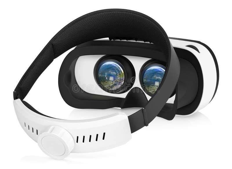 Vänd tillbaka sikt för VR-virtuell verklighethörlurar med mikrofon halva arkivfoto