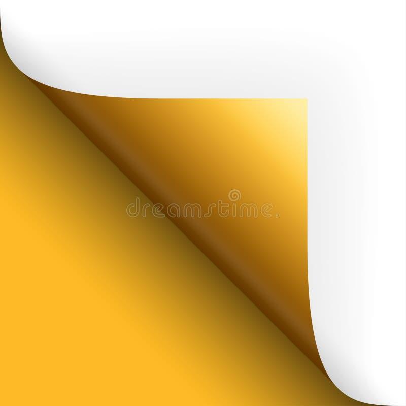 Vända för papper/för sida över bottenvänstersidaguling royaltyfri illustrationer