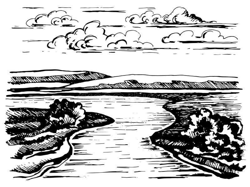 Vända floden skissa stock illustrationer