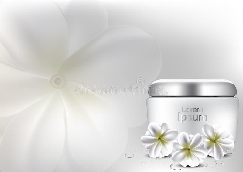 Vända mot fuktighetsbevarande hudkräm med för bakgrundsvektorn för den vita blomman annonsen för skönhetsmedlet stock illustrationer