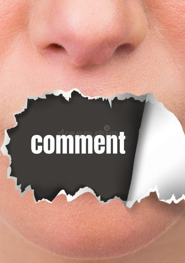 Vända mot med sönderrivet papper på mun- och kommentartext royaltyfri fotografi