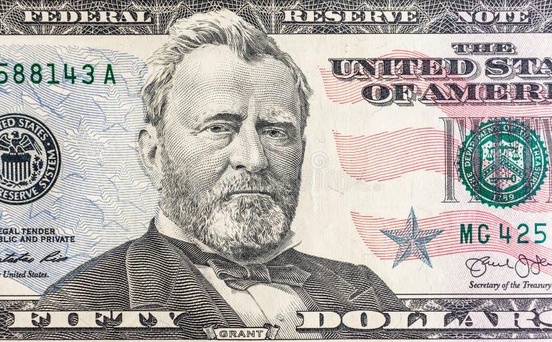 Vända mot på räkningmakro för USA femtio eller 50 dollar, Förenta staterna pengarcloseup arkivbilder