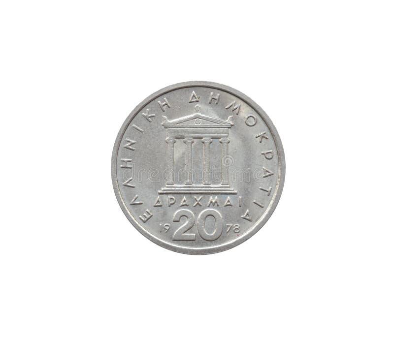 Vända om av det 20 drakma myntet som göras av Grekland som visar Parthenon arkivfoton