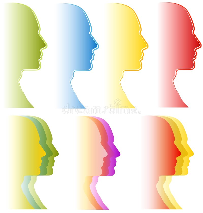 vänder åtskilliga personligheter mot royaltyfri illustrationer