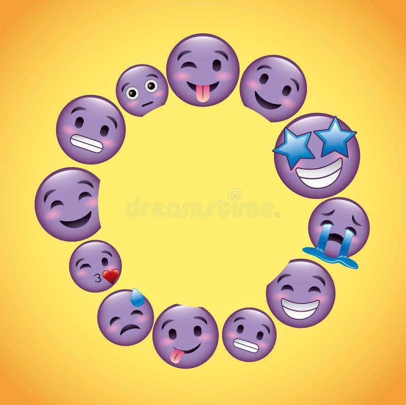 Vänder mot den purpurfärgade emojien för rund ram garnering stock illustrationer