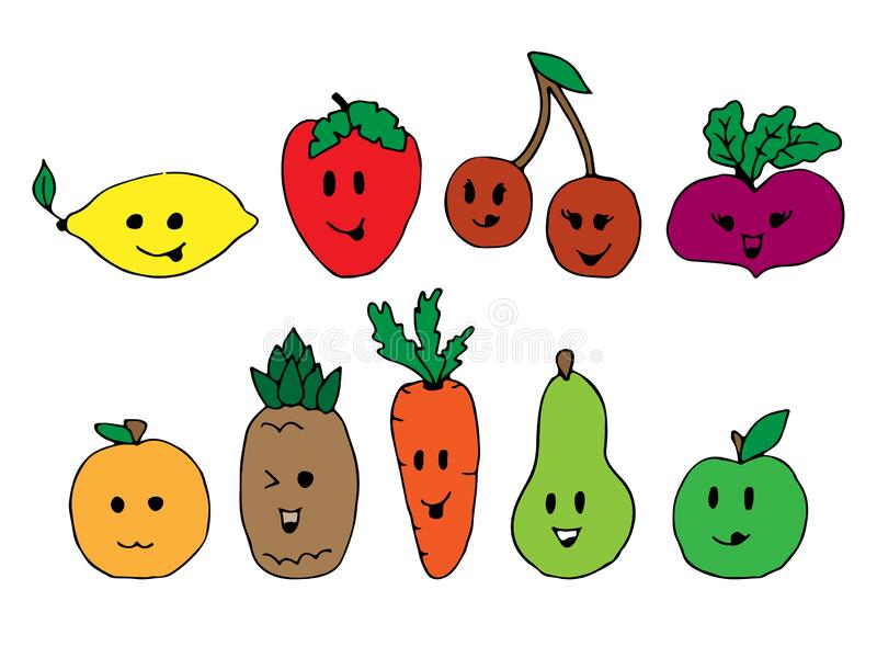 Vänder mot gulliga tecken för tecknad filmgrönsak isolerat på den vita bakgrundsvektorillustrationen Rolig grönsakframsidasymbol royaltyfri illustrationer