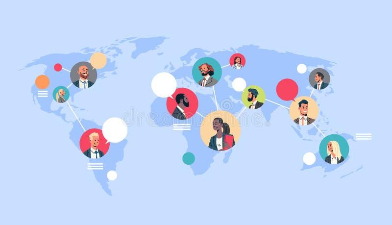 Vänder mot kvinnan för mannen för loppet för blandningen för avataren för begreppet för anslutning för teamwork för den globala k stock illustrationer