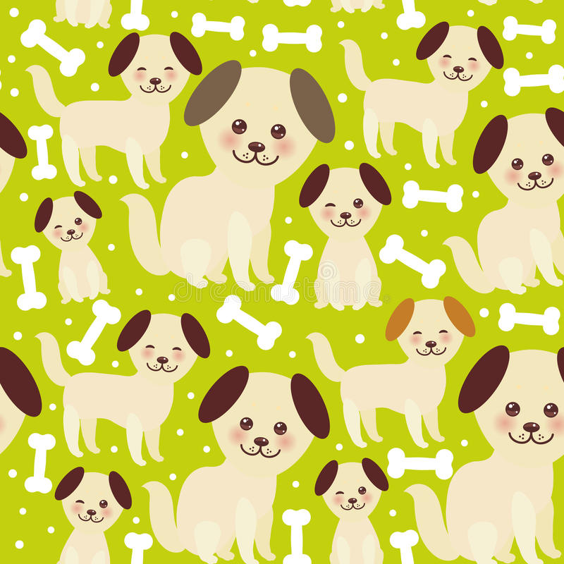 Vänder mot roliga guld- beigea hund- och vitben för sömlös modell, Kawaii med stora ögon och rosa färgkinder, bruntöron, pojken o vektor illustrationer