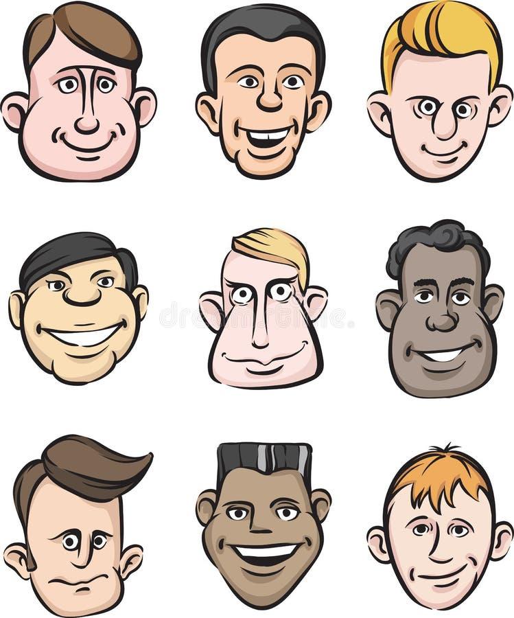 vänder roliga män mot royaltyfri illustrationer