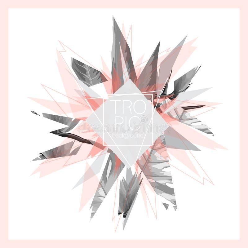 Vändkretsen lämnar rosa gråa svarta vita abstrakta designexplosionstycken Minsta design för exotisk futuristisk digital vektor stock illustrationer
