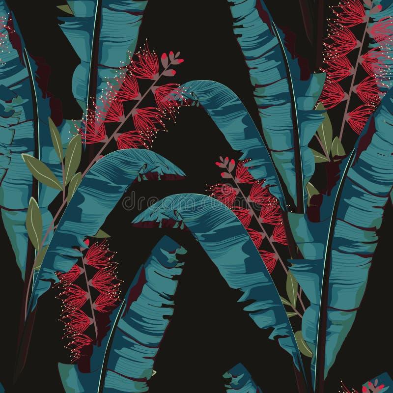 Vändkretssommar som målar den sömlösa vektormodellen med bananbladet Blom- blommor för djungelproteaparadis vektor illustrationer