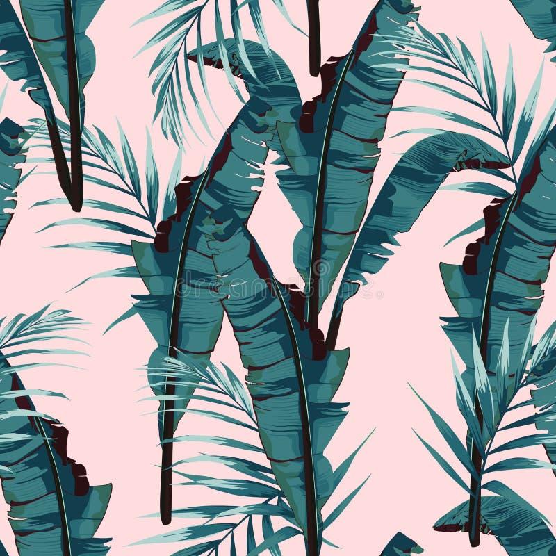 Vändkretssommar som målar den sömlösa vektormodellen med, gömma i handflatan bananbladet och växter royaltyfri illustrationer