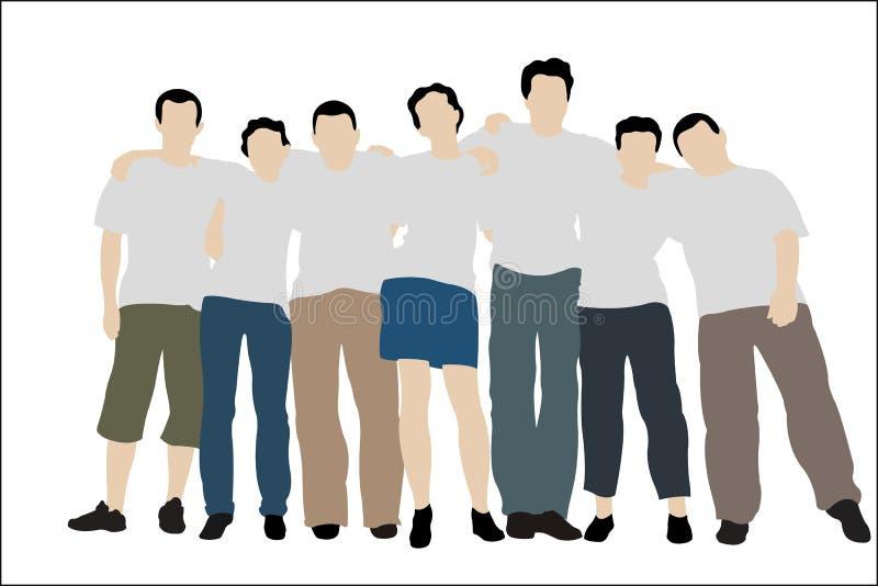 vängruppen kortsluter t-white royaltyfri illustrationer