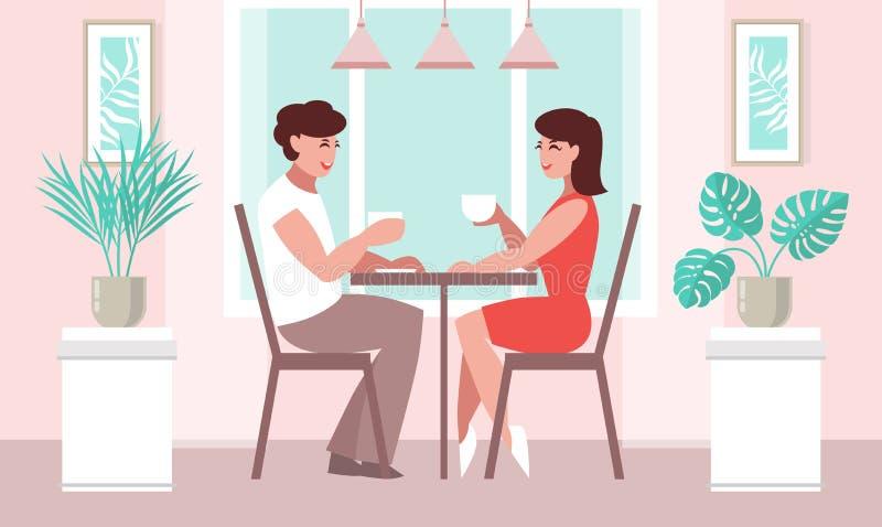 Vänkvinna och en man på en tabell i ett kafé stock illustrationer