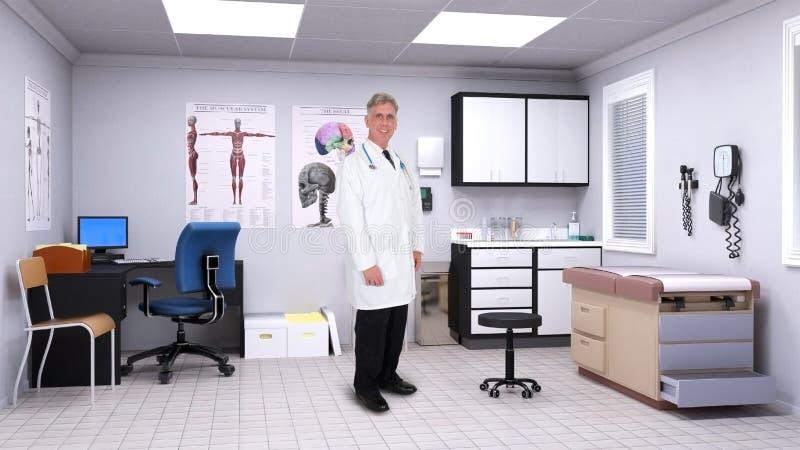 Vänlig doktor, medicinskt sjukhusrum royaltyfri bild