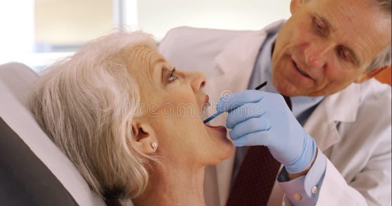Vänlig hög tandläkare som undersöker äldre tänder för kvinna` s arkivfoto