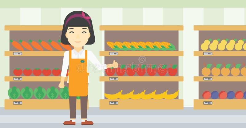 Vänlig illustration för supermarketarbetarvektor royaltyfri illustrationer