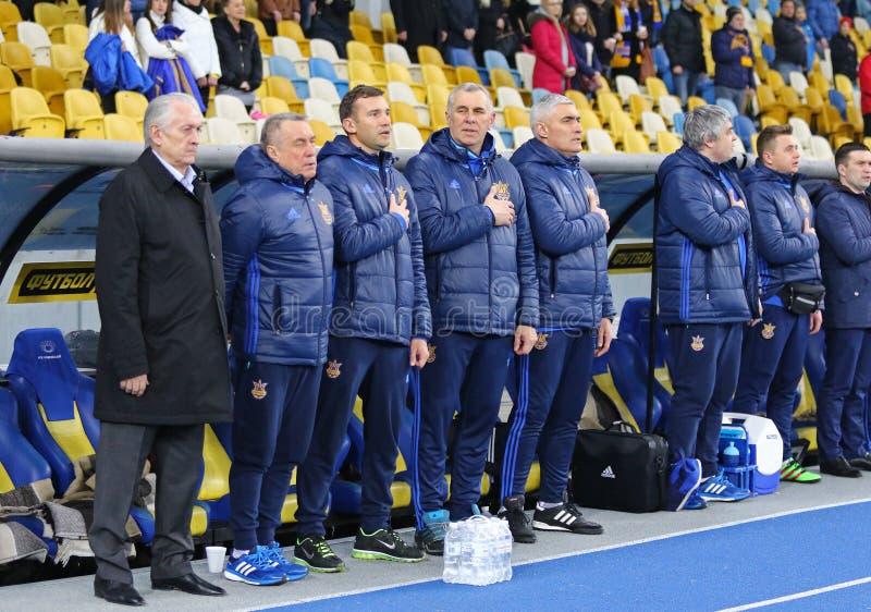 Vänlig match Ukraina vs Wales i Kyiv, Ukraina arkivfoto