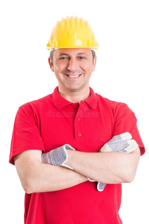 Vänlig och säker byggnadsarbetare royaltyfria foton
