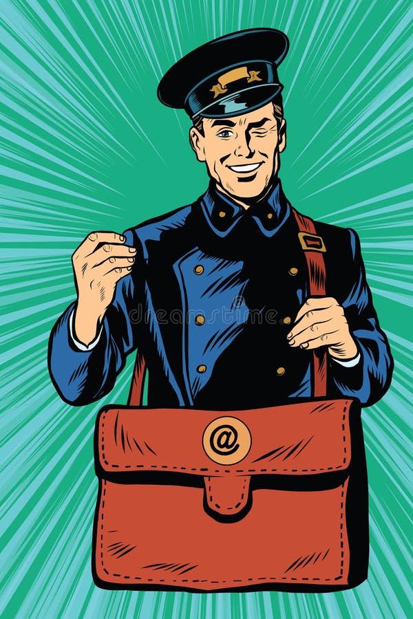 Vänlig retro brevbärare i blå likformig med påsen stock illustrationer