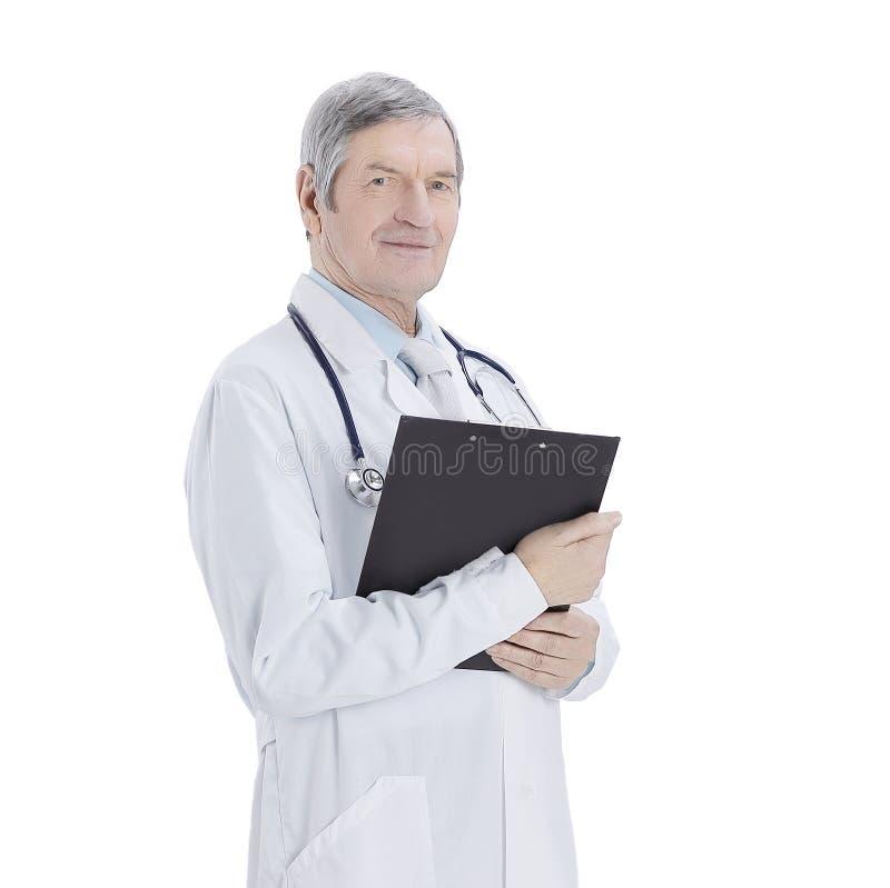 Vänlig terapeut med dokument bakgrund isolerad white royaltyfria foton