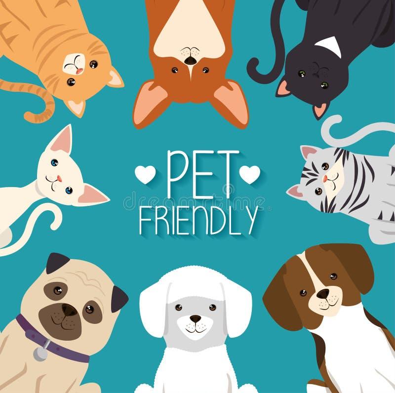 Vänliga hundkapplöpning- och katthusdjur royaltyfri illustrationer