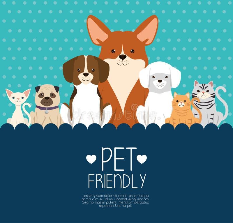 Vänliga hundkapplöpning- och katthusdjur stock illustrationer