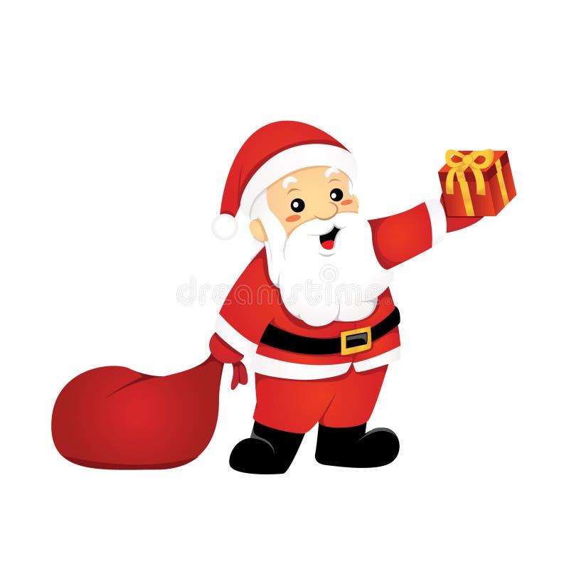 Vänliga Santa Claus Giving Out Gifts Cartoon royaltyfri illustrationer