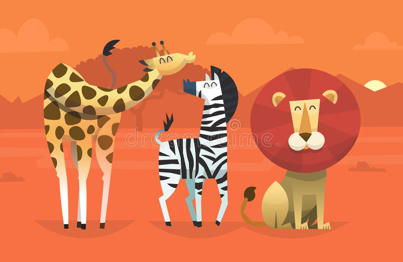 Vänliga tropiska djur vektor illustrationer
