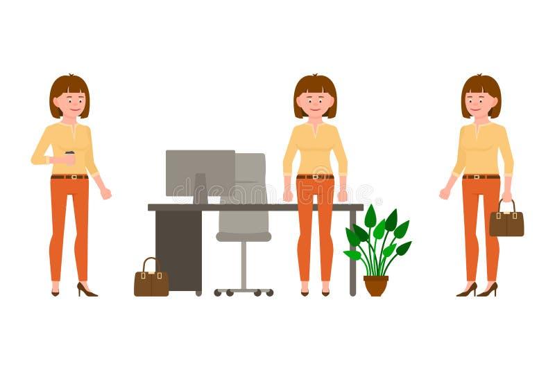 Vänligt och att le, elegant brun hårkvinna i tillfällig illustration för kontorsklädervektor vektor illustrationer