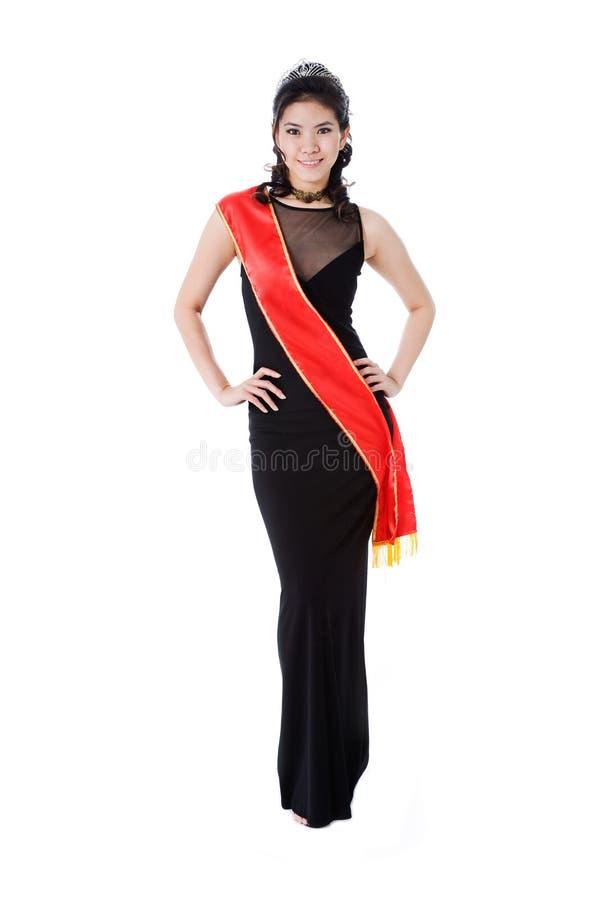vänligt pageantdrottningleende royaltyfria foton