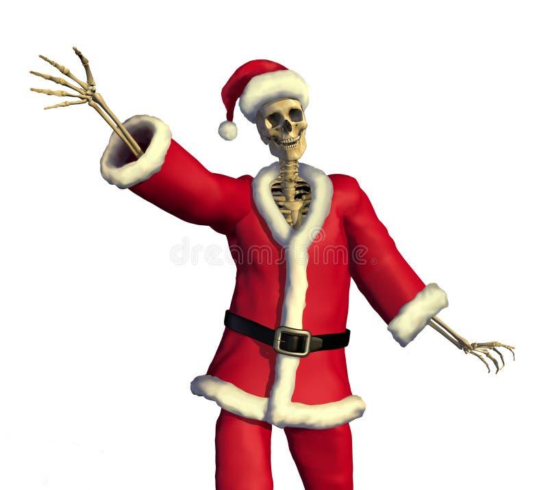 vänligt santa skelett stock illustrationer