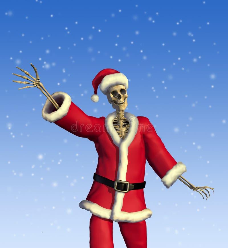 vänligt santa skelett royaltyfri illustrationer
