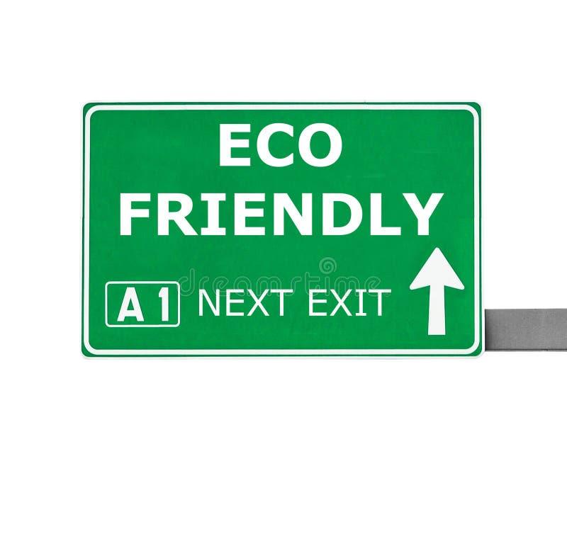 VÄNLIGT vägmärke för ECO som isoleras på vit royaltyfri fotografi