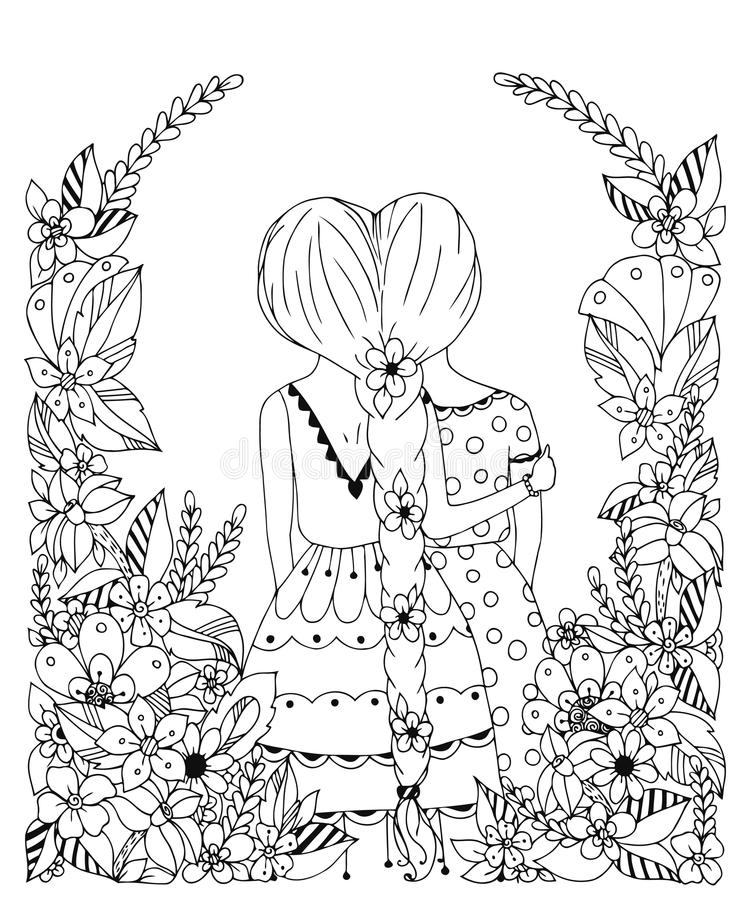 Vännen för flickan för vektorillustrationzentangl i en blommaram, klottret, blommor, spottar tillbaka Kramar kamratskap för färgl royaltyfri illustrationer