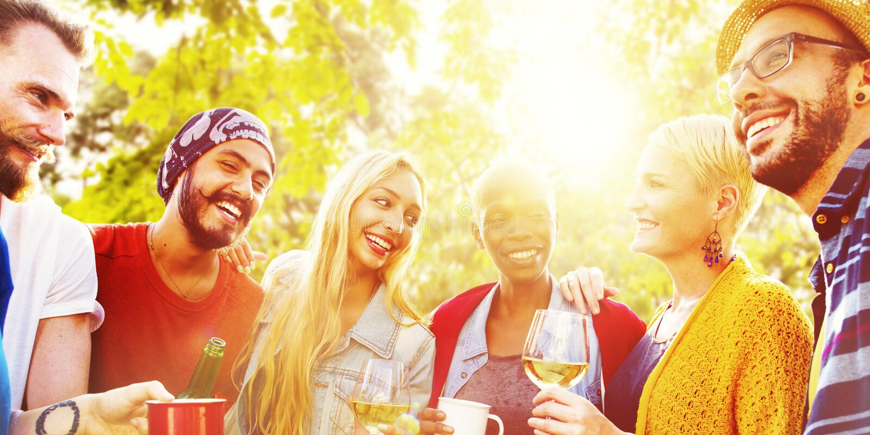 Vännen firar glad livsstil för partipicknick som dricker begrepp royaltyfria foton