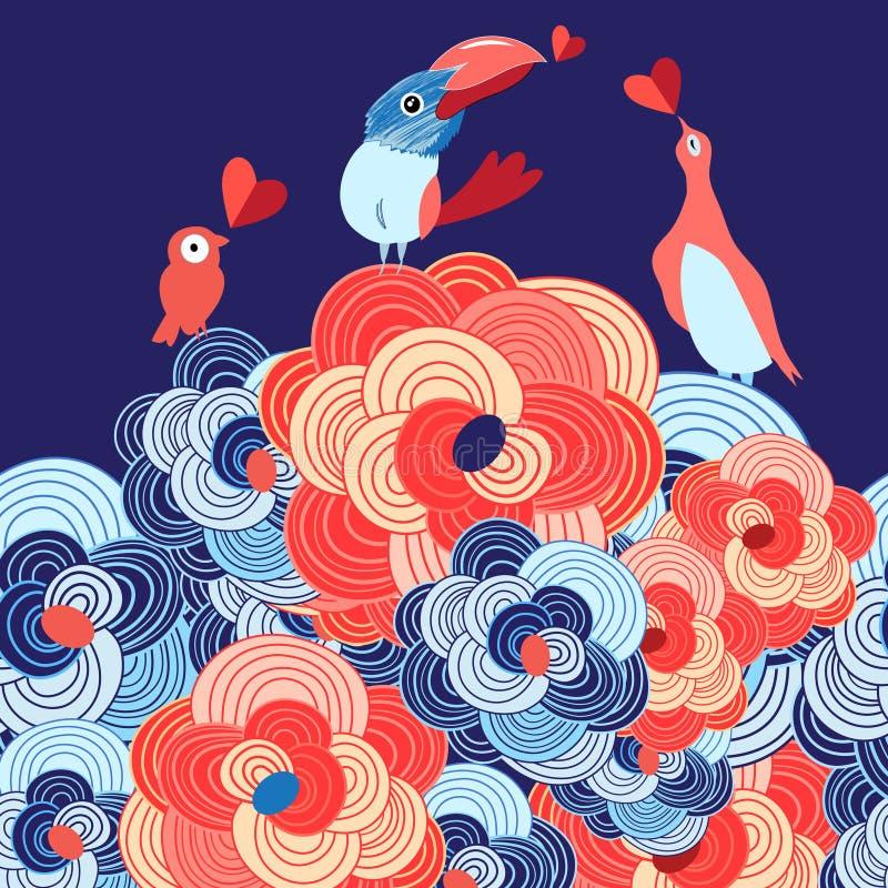 Vänner av fåglar på blommorna stock illustrationer