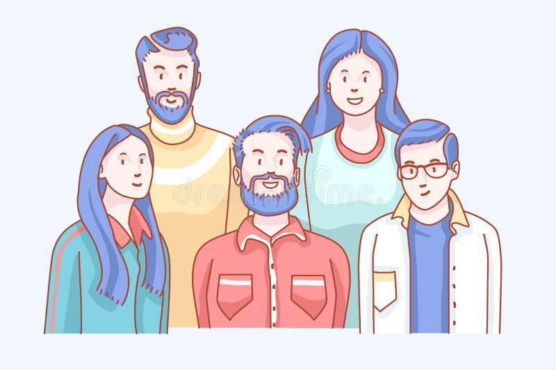 vänner Det mjuka främre klotterförhållandet skissar av uppföranden royaltyfri illustrationer