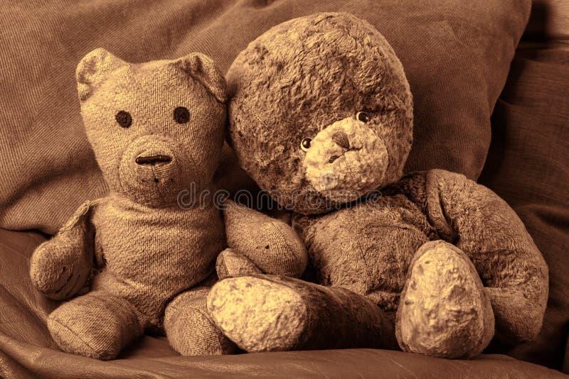 Vänner för björn för morföräldertappningnalle Gammal-åldras gift cou för leksak royaltyfri fotografi