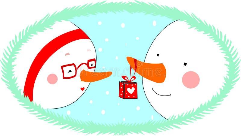 Vänner för dag för valentin` s i en cirkel med röda band vektor illustrationer