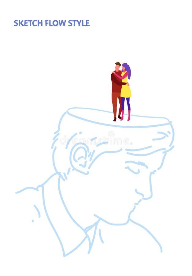Vänner för kvinnan för mannen för öppna par för det mänskliga huvudet som skissar förälskade omfamnar romantiskt datera idérikt i royaltyfri illustrationer