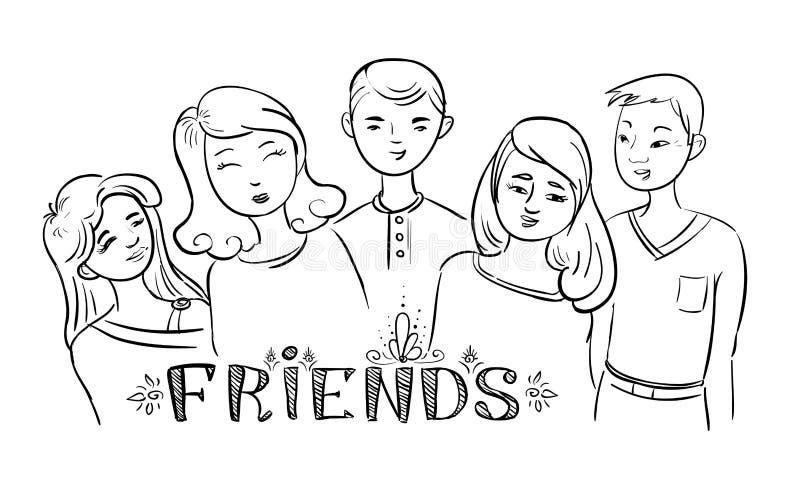 Vänner för vektorklotterungdomar vektor illustrationer
