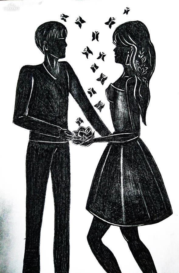 Vänner flicka och grabb royaltyfri illustrationer