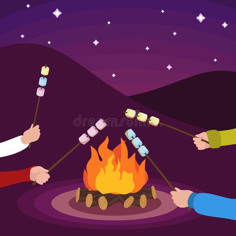 Vänner gör marshmallowen på brandbegreppsbakgrund, plan stil royaltyfri illustrationer