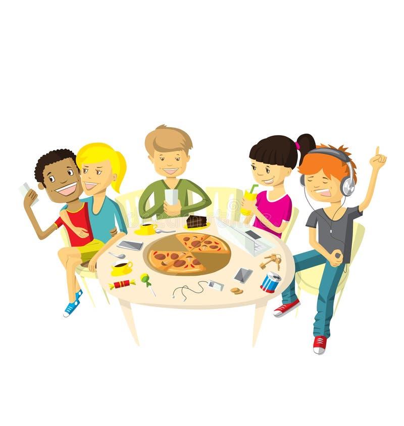 Vänner i pizzeria stock illustrationer