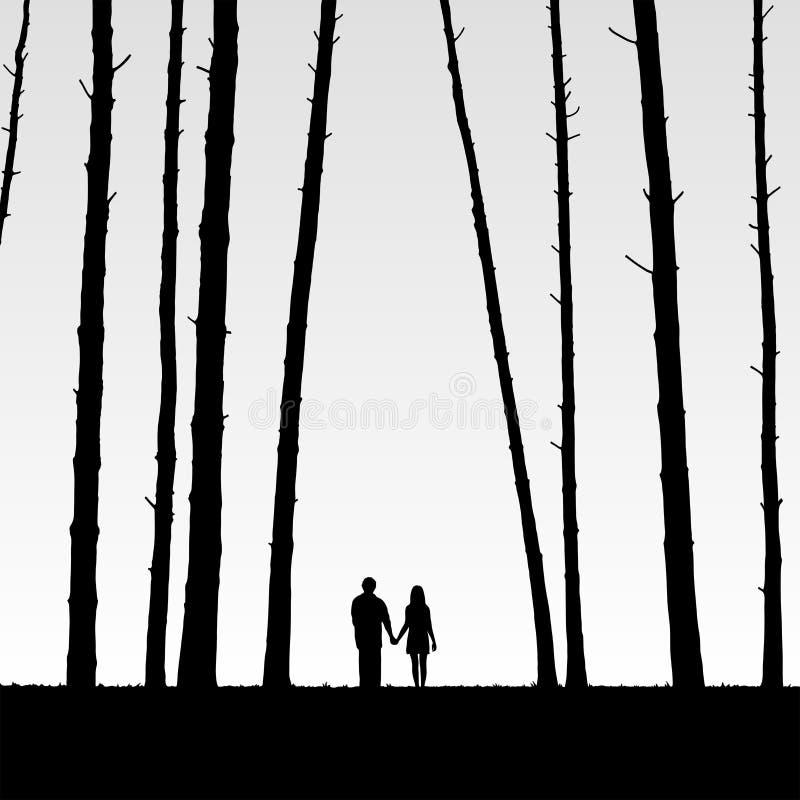 Vänner i skog vektor illustrationer