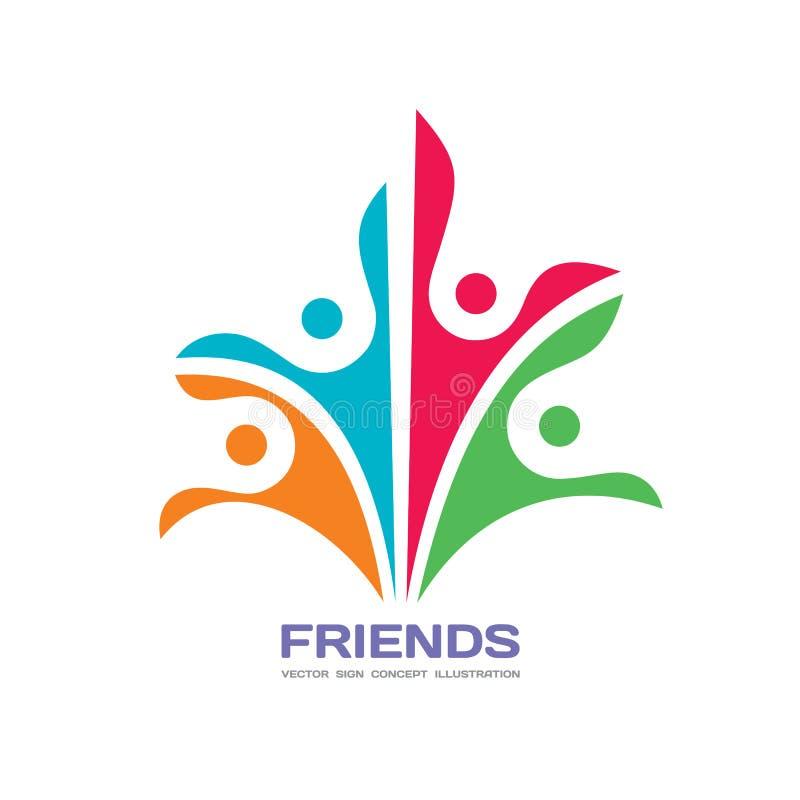 Vänner - illustration för begrepp för vektorlogomall Mänskligt teckenabstrakt begrepptecken Lyckligt folkfamiljsymbol Fackligt so royaltyfri illustrationer
