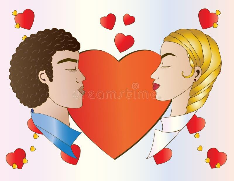 Vänner och hjärtor stock illustrationer
