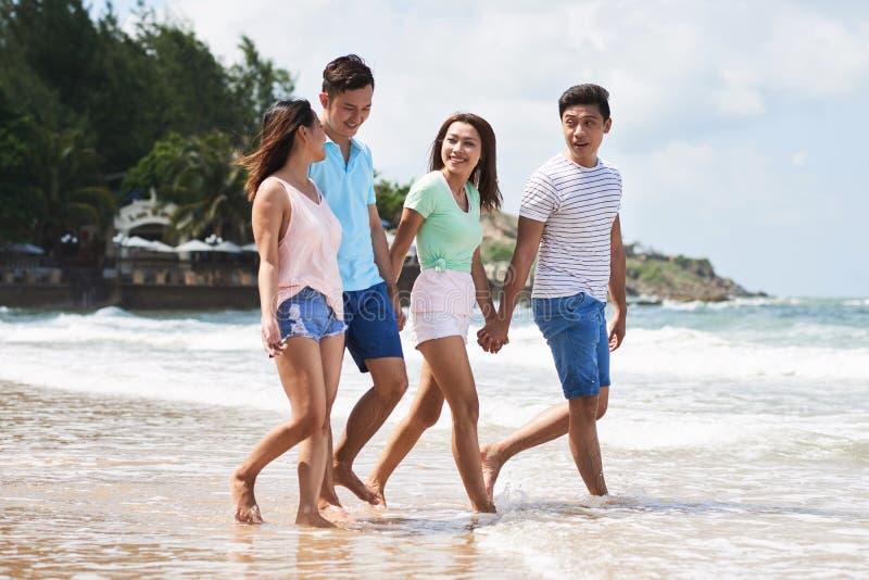 Vänner på stranden arkivbild